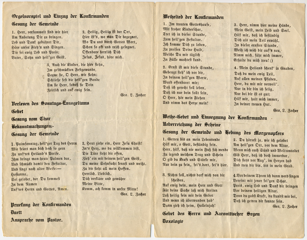 Confirmation program for the Ebenezer class of 1922.