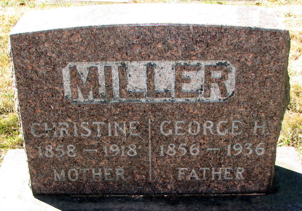 Miller tombstone at the Rose City Cemetery.