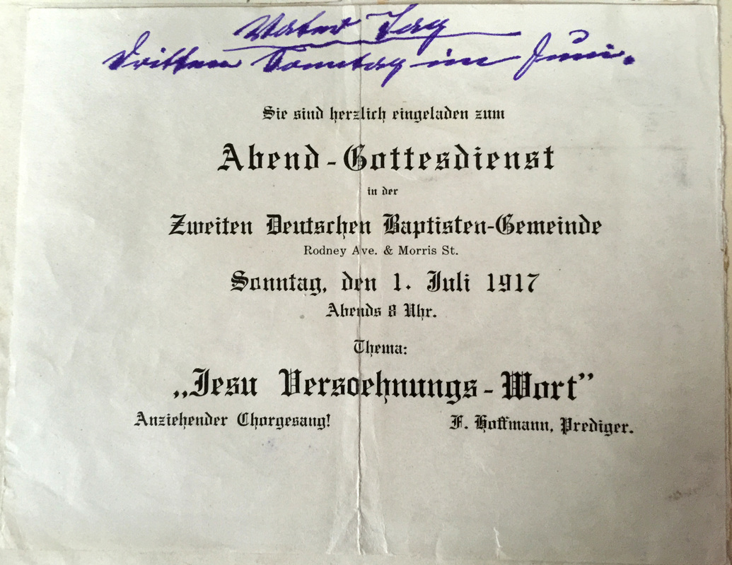 Announcement of the evening service on July 1, 1917 at the Second German Baptist Church led by Rev. Hoffmann.