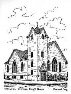 Drawing of the German Evangelical Brethren Congregational Church.