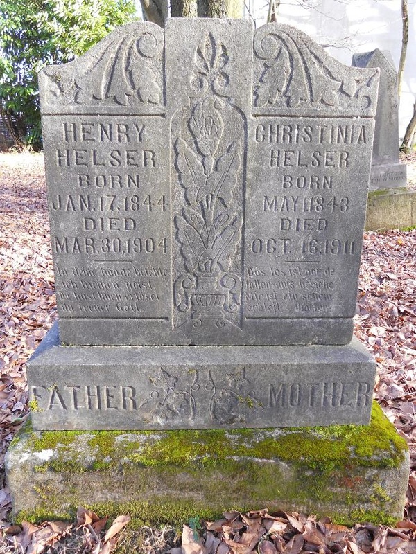 Tombstone of Henry and Christina Helser at the Columbian Cemetery.