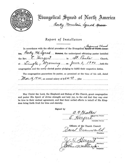 A Report of Installation for Rev. Elias Hergert in Lingle, Wyoming in 1940.