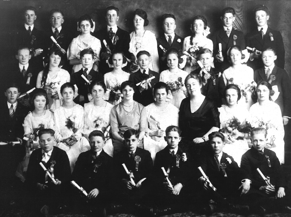 Albina Homestead School graduating class. Circa 1918.