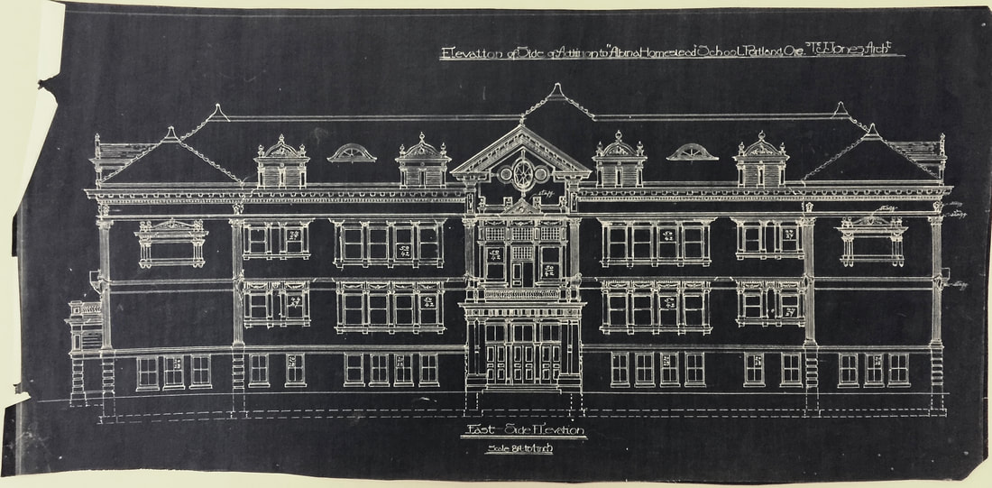 Albina Homestead School East Side Elevation Drawing