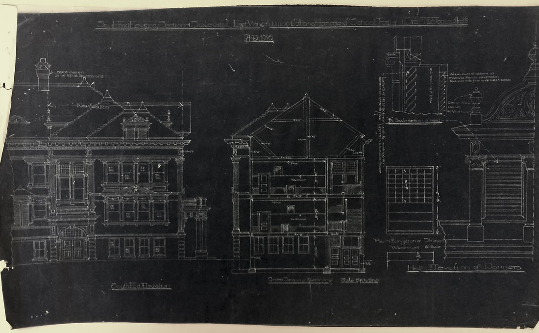 Architectural drawing of the Albina Homestead School South-Side Elevation