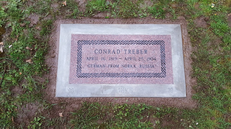Conrad Treber headstone at the Lone Fir Cemetery.