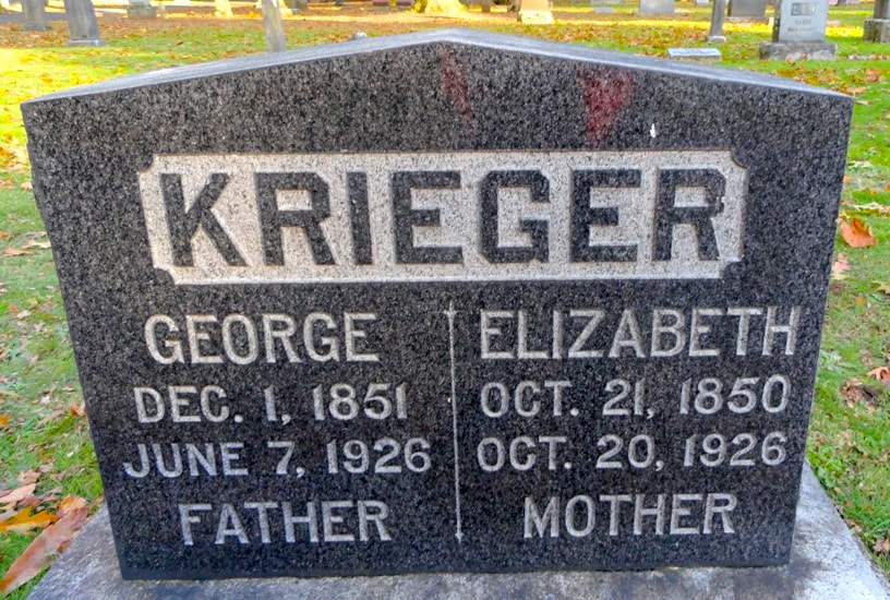 George and Elizabeth Krieger headstone at the Lone Fir Cemetery.