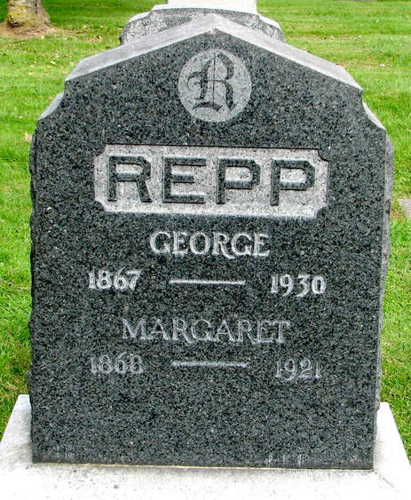 George and Margaret Repp Headstone at the Rose City Cemetery