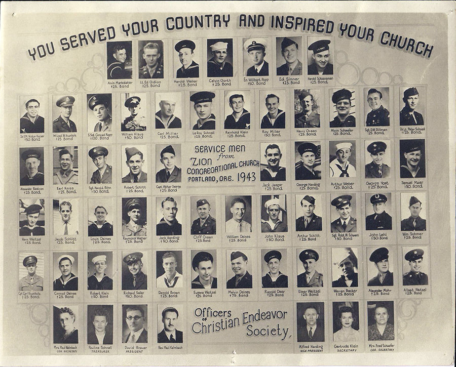 Members of the Zion Congregational Church serving in World War II in 1943. Photography courtesty of Karen Drier Esayian.